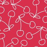 Het naadloze patroon van de kers Hand getrokken vers fruit Vectorschetsachtergrond Het behang van de kleurenkrabbel Bessendruk stock illustratie