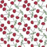 Het naadloze patroon van de kers Hand getrokken verse bes Vectorschetsachtergrond Het behang van de kleurenkrabbel Heldere druk royalty-vrije illustratie