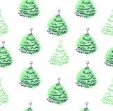 Het naadloze patroon van de kerstboom Stock Afbeelding