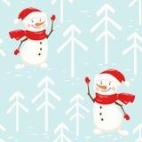 Het naadloze patroon van de Kerstmissneeuwman De groet van het nieuwjaar stock foto