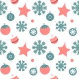 Het naadloze Patroon van de Kerstmiswinter, Vectorillustratie Stock Foto