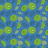 Het naadloze patroon van de kiwi Hand getrokken vers tropisch fruit Multicol stock illustratie