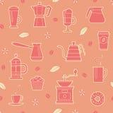Het naadloze patroon van de koffie Stock Fotografie