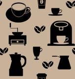 Het naadloze patroon van de koffie Royalty-vrije Stock Foto's
