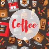 Het naadloze patroon van de koffie drank decoratieve pictogrammen Stock Afbeelding