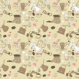 Het naadloze patroon van de Koffie van de Krabbel Stock Foto