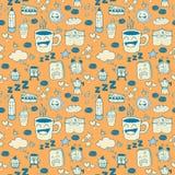 Het Naadloze Patroon van de koffiekrabbel Stock Afbeeldingen