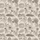 Het naadloze patroon van de krabbelbloem met cake en vogel voor mooi Stock Fotografie