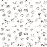 Het naadloze patroon van de krabbelcamera Stock Foto's