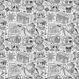Het naadloze patroon van de krabbelpiraat Stock Foto