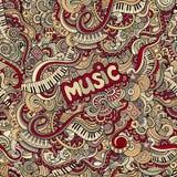 Het naadloze patroon van de krabbelsmuziek Stock Fotografie