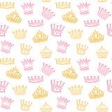 Het naadloze patroon van de kroon Gouden en roze kronen voor prinses Pasgeboren meisjes vectorachtergrond vector illustratie