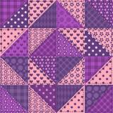 Het naadloze patroon van de lapwerk violette kleur Stock Afbeeldingen