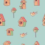 Het naadloze patroon van de lente Vogels en vogelhuizen vector illustratie