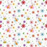 Het naadloze patroon van de lentebijen Royalty-vrije Stock Afbeeldingen