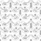 Het naadloze patroon van de lentevogels, vector zwart-witte tekening stock illustratie