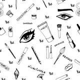 Het naadloze patroon van de make-up Stock Afbeelding