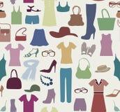 Het naadloze patroon van de manierdoek Vrouwenkleren en toebehoren vector illustratie