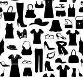 Het naadloze patroon van de manierdoek Vrouwenkleren en toebehoren r royalty-vrije illustratie
