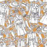 Het naadloze patroon van de manierslijtage De herfst, de winter, Stock Foto