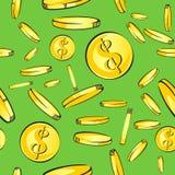 Het naadloze patroon van de muntstukkenregen, gouden geld met de daling van het dollarteken, vectorillustratie Stock Afbeeldingen