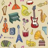 Het naadloze patroon van de muziek Vector illustratie Stock Foto