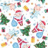 Het naadloze patroon van de nieuwjaarwaterverf met leuke varkens, Kerstbomen en sneeuwvlokken royalty-vrije illustratie