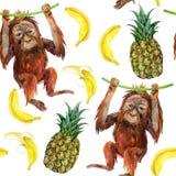 Het naadloze patroon van de orangoetanbaby Royalty-vrije Stock Fotografie