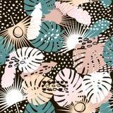Het in naadloze patroon van de palmtak met hand getrokken elementen De achtergrond van het Monsterablad Groot voor stof, textiel  vector illustratie