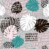 Het in naadloze patroon van de palmtak met hand getrokken elementen De achtergrond van het Monsterablad Groot voor stof, textiel  stock illustratie