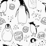 Het naadloze patroon van de pinguïnenlevensstijl Stock Afbeeldingen