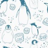Het naadloze patroon van de pinguïnenlevensstijl Royalty-vrije Stock Afbeelding