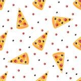 Het naadloze patroon van de pizza Stock Foto