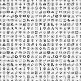Het naadloze patroon van de Plaatspictogrammen van GPS van de krabbelkaart Stock Foto's