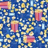 Het Naadloze Patroon van de Popcorn van de bioscoop Royalty-vrije Stock Fotografie