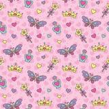 Het naadloze patroon van de prinses Stock Foto