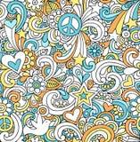 Het Naadloze Patroon van de psychedelische Krabbels van de Vrede Stock Foto's
