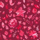 Het naadloze patroon van de reeks multicolored retro bloem Stock Fotografie