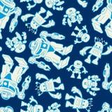 Het naadloze patroon van de robotkracht op een marineachtergrond Stock Fotografie
