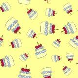 Het naadloze patroon van de roomcake met gele achtergrond stock illustratie