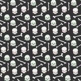 Het naadloze patroon van de schedel Stock Afbeeldingen