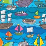 Het Naadloze Patroon van de schipboot Stock Afbeeldingen