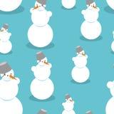 Het naadloze patroon van de sneeuwman Achtergrond van sneeuwcijfer Stock Foto