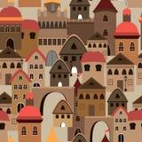Het naadloze patroon van de stad Vector illustratie van stad Stock Afbeelding
