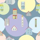 Het naadloze patroon van de stadsillustratie Stock Fotografie