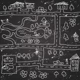 Het naadloze patroon van de stadskaart Stock Afbeelding