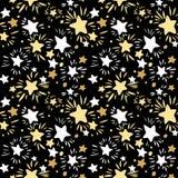 Het naadloze patroon van de ster Textiel de slagentextuur van de inktborstel in doodl royalty-vrije illustratie