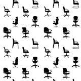 Naadloos patroon van de stoelensilhouetten van het Bureau Stock Foto