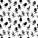 Naadloos patroon van de stoelensilhouetten van het Bureau Stock Afbeeldingen