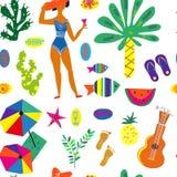 Het naadloze patroon van de strandpartij met tropische installaties, overzeese voorwerpen Vector illustratie Royalty-vrije Stock Afbeeldingen